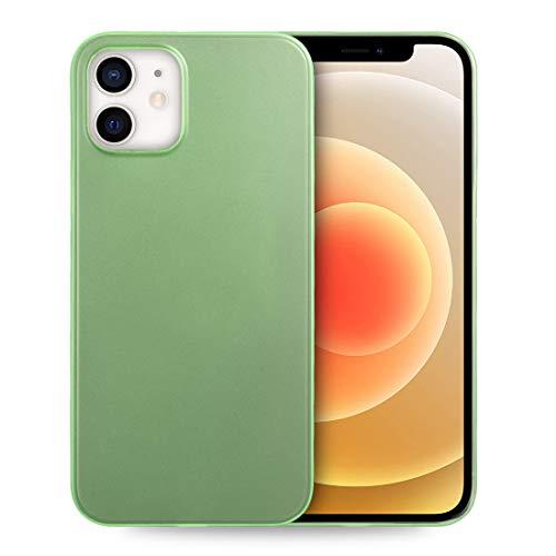 doupi UltraSlim Custodia per iPhone 12 / iPhone 12 PRO (6,1 Pollici), Satinato fine Piuma Facile Mat Semi Trasparente Cover, Verde