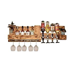 Weinregal Holz Schnapsregal vintage Getränkespender Küche Bar Regal Wandregal rustikal Europalette
