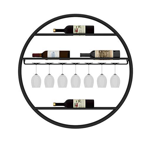 LTLWSH Cantinetta Porta-Bottiglie Decorazione da Parete Rotonda Scaffale Vini Scaffale in Metallo per ristoranti, Bar, Supporto Bottiglie,Nero,75x10cm