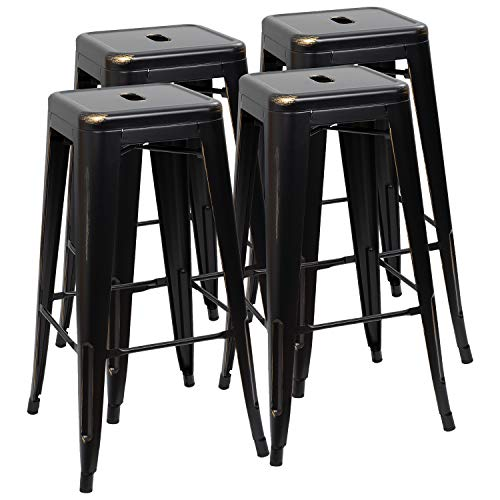 Furmax 30 Inches Metal Bar Stools High Backless Stools Indoor Outdoor Stackable Kitchen Stools Set of 4 (Black Gold)