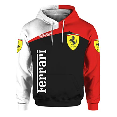 Cronell Story Unisex Langarm Hoodie 3D Digital International Ferrari Logo Print Sweatshirt Lässiges Sweatshirt (2,L)