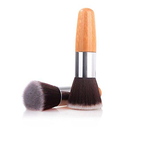 Mydio Poignée en bambou Brosse Fond de teint Brosse, The Perfect kit de pinceaux de maquillage pour contour, Blush, fond de teint, poudre de visage