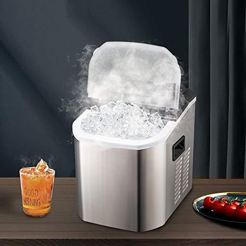 WYZQQ Eismaschine, Tragbare Kleine Elektrische Eiswürfelmaschine Für Gewerbliche Und Private Zwecke, 25 Kg / 24 Stunden, LCD-Display, Edelstahl , Manuelle Wasserzugabe / Automatische Wasserzugabe