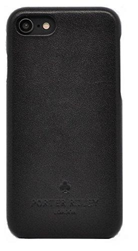 Porter Riley - Lederhülle für iPhone 8 Plus/iPhone 7 Plus. Premium Ultra Dünn Echtleder Cover/Ledertasche/Backcover kompatibel mit iPhone 8/7 Plus (Schwarz)