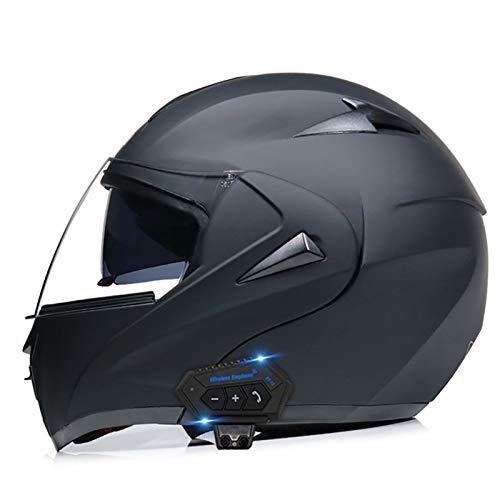 Casco de Motocicleta Integrado Bluetooth, Cascos Moto Modulares con Doble Visera para Motocicleta Scooter, Certificado ECE (Color : A, Size : XXL=(61-62CM))