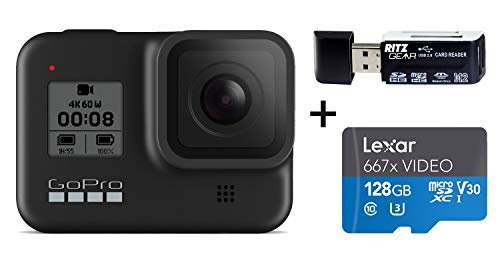 GoPro HERO8 Black — Waterproof Action Camera with Touch Screen 4K Ultra HD Video 12MP Photos 1080p Live Streaming Stabilization with Lexar 128GB U3 Memory Card and Ritz Gear Memory Card Reader