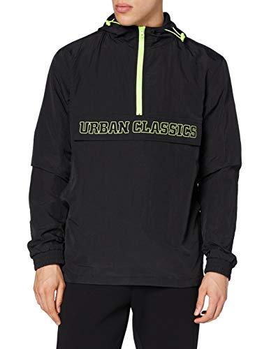 Urban Classics Herren Contrast Pull Over Jacket Windjacke, Black/electriclime, L