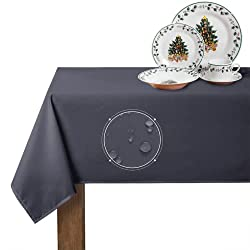 top rated RYB HOME 6-foot rectangular tablecloth waterproof tablecloth stain-resistant, wrinkle-free, … 2021
