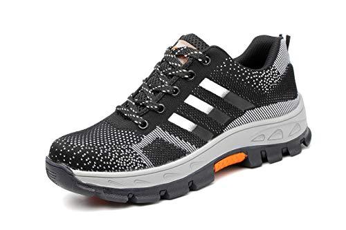 Ansel-UK Uomo Donna S3 Scarpe da Lavoro Comodissime Traspiranti Scarpe Antinfortunistiche con Punta in Acciaio Stival Calzature da Cantiere Escursionismo Sneaker di Sicurezza per Industria Edilizia