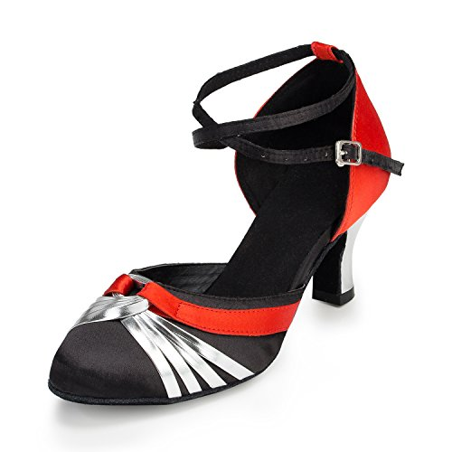 URVIP Nowości damskie buty ze sztucznej skóry poliuretanowej, buty do tańca LD045, srebrny - srebro - 33.5 EU