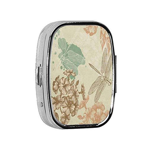 Square Pill Case 2 Compartment Portable Purse Travel Pattern