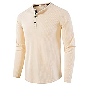 Men's Casual Crew Neck Long Sleeve T-Shirts of Waffle Henley
