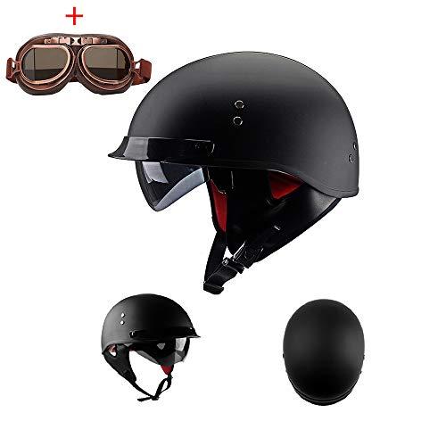 Medio Casco de la Motocicleta Casco Protector Ajustable Cafe Racer Bik