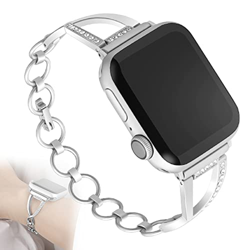 Compatible con Apple Watch Series 6 Correa, 44 Mm 42 Mm Acero Inoxidable Diamante De Imitación Diamante Reemplazo Banda Joyería Pulsera Pulsera para Iwatch Series 6/5/4/3/2/1,38mm/40mm