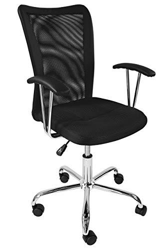 AVANTI TRENDSTORE - Migalli - Sedia d'ufficio girevole e regolabile in altezza, ideale per la scrivania, disponibile in diversi colori, dimensioni LAP ca. 58x86-96x52 cm, nero, null, ruote