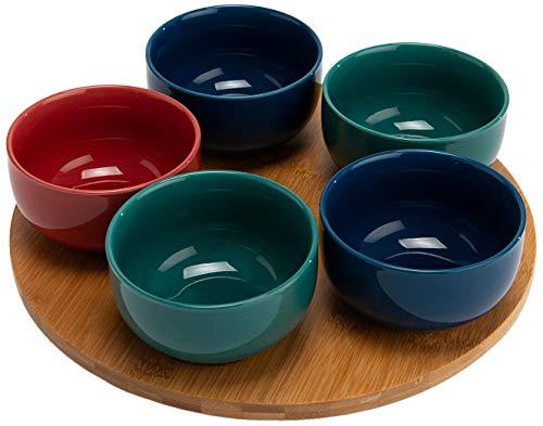 Coffret apéro 5 bols avec plateau en bois Tidiane