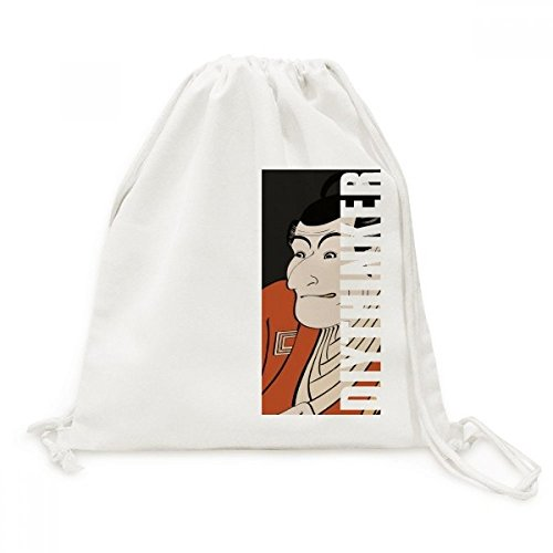 DIYthinker Japanse Stijl Ukiyoe Man Kimono Canvas Trekkoord Rugzak Reizen Shopping Tassen