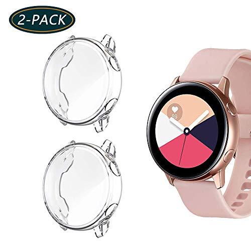 Jvchengxi Funda Protectora para Galaxy Watch Active, Cubierta Protectora de Marco Resistente a los rasguños TPU Protector de Pantalla de Cobertura Total para Galaxy Watch Active 40mm (Clear/Clear)
