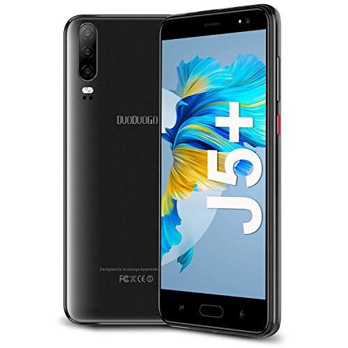 Teléfono Móvil 4G Android 9.0 Quad Core (2021) DUODUOGO J5 Smartphone Libres Baratos 5.5   HD 16GB ROM Escalable 128 GB 1GB RAM Quad Core 4800mAh Barato Face ID (Negro)