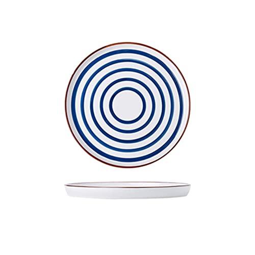 LIUBINGTB Plato de Cena Estilo nórdico Placa de cerámica Pintada a Mano 8 Pulgadas 10 Pulgadas Azul Modelado de Platos de Postre Redondo Platos de Cena vajilla Japonesa (Color : 8 Inch Concentric)