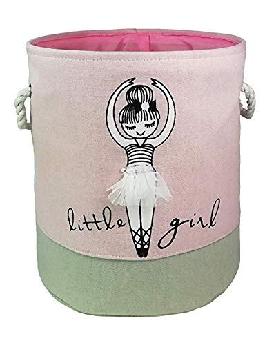 Bandeja de almacenamiento de la cesta de lavandería de la chica de la bailarina, canasta plegable de algodón organizadora de color rosa - cestas de juguete, cestas de regalo, guardería infanti