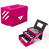 Ver Beauty 72pcs Makeup Gift Set Kit Train Case With Extendable Trays (eyeshadow, Blushes, Lipstick & More) - Vmk1504