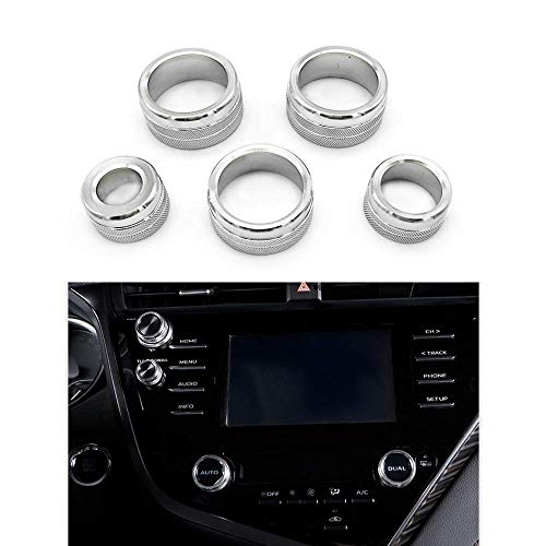 Thor-Ind 5PCS Center Console Knobs AC Air Conditioning Button+Audio+Function+Rear Mirror Knob Switch Cover Trim for Toyota Camry 2018 2019 2020 (Silver)