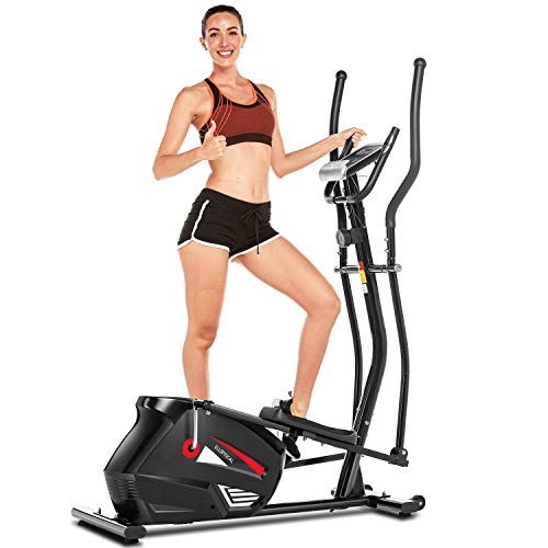 FUNMILY Elliptical Machine for Home Use, Elliptical Exercise Machine Trainer with Large Pedal & LCD Monitor Quiet Smooth Driven