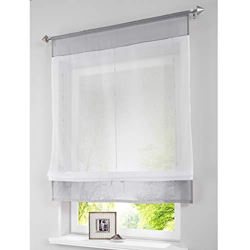 SIMPVALE - Cortina Visillos Transparente para Ventana de Cocina, Baño, Balcón, 1 Unidad, Gris Claro, 80x100cm