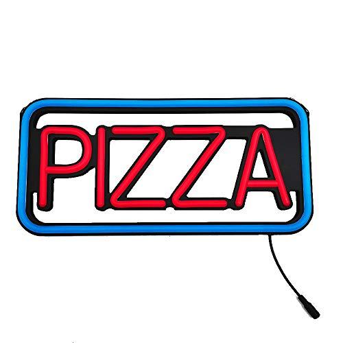 """LED Neon Open Sign Base negra con resina LED Neon o Flex Neon Lo mejor para Bar Pizza Cafetería Tienda Windows (16"""" Pizza Azul/Rojo)"""