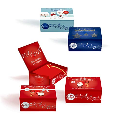 Cepewa Weihnachten Geldgeschenk Box mit Musik 4 Verschiedene Dekore 3,5 x 9 x 11 cm