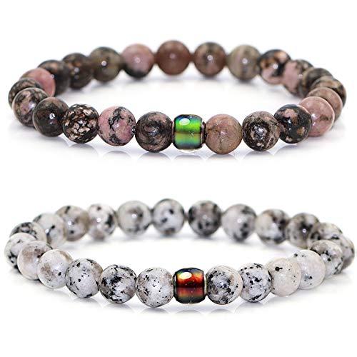 Gleamart 2 pulseras de cuentas de piedra de 8 mm con un cambio de color que cambia de estado de ánimo, pulseras de poder curativo para hombres y mujeres