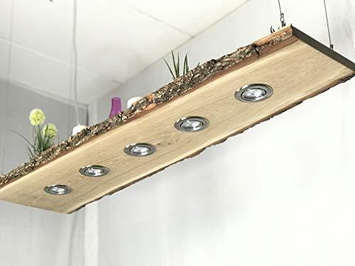 Blockholz-Schmiede Eiche Pendellampe Smart Home LED Leuchte - Dimmbare Friesen Leuchten - Höhenverstellbare Deckenlampe für Esszimmer und Wohnzimmer - Hängelampe (150cm 6 LEDs, 5w Warmweiß)