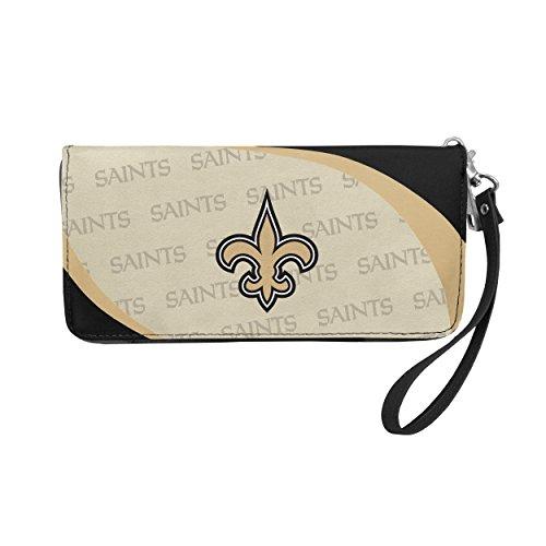 Littlearth NFL New Orleans Saints Curve Zip Organizer Wallet,Black,8' x 4' x 1'