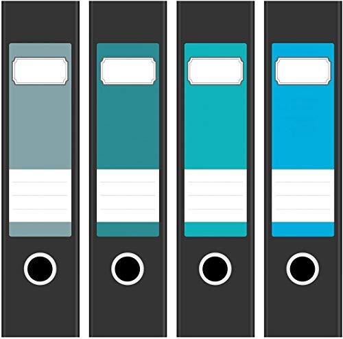 4 farbige Design Akten-Ordner Etiketten/Aufkleber/Rücken Sticker/Farben Mix Türkis Blau für breite Ordner/selbstklebend / 6cm breit