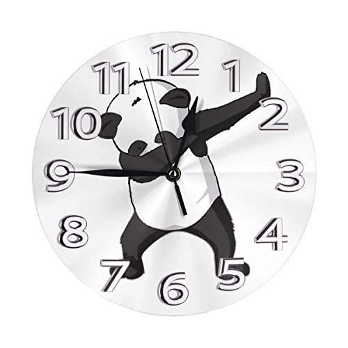 Orologio da parete rotondo Dancing Panda Swag Orologio in PVC Orologio silenzioso antiscivolo Cerchio decorativo Orologio da parete per ristorante Ufficio Scuola Decorazioni per la casa 9,84 pollici