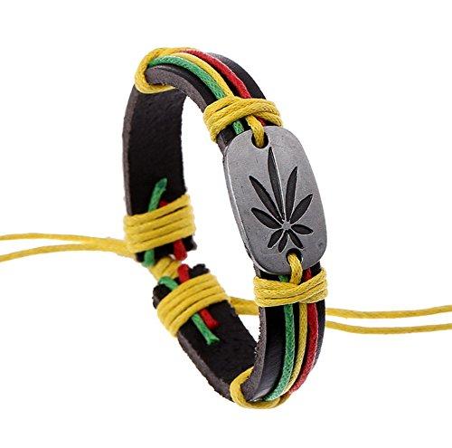 AIUIN - Pulsera de piel para hombre, diseño de hoja de reggae Jamaica, acero inoxidable, para hombre, pulsera de hombre, pulsera de aleación, con bolsa de joyería