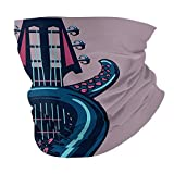 cap hat Outdoor Headband Head Scarf Scarf Neck Gaiter Face Bandana Scarf Octopus Decor Octopus Tentacle is Holding Guitar Riff Musical Instrument Rock and Roll Modern Artwork Lilac Blue