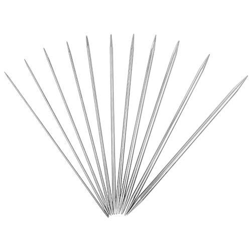 metagio Aiguilles à Tricoter Ensemble d'aiguilles à Tricoter à Double Pointes en Acier Inoxydable pour Pull, Chaussettes, Gants, Chapeaux et écharpes,20cm