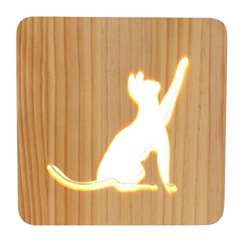 Garneck Lámpara de Noche de Gato Diseño Hueco de Dibujos Animados Lámpara de Noche de Madera Luz de Mesa Led Luz de Noche de Energía USB Decoración de Dormitorio