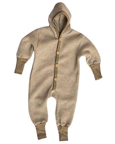 Cosilana Baby Kinder Fleece Overall mit Bündchen am Armen und Füßen, 60% Wolle (kbT), 40% Baumwolle (KBA) (74/80, Latte Macchiato Melange)