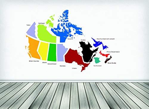 Muursticker Verkoop: Canadese provincies Canada Kaart Maat: 20 Inches X 30 Inches - 22 Kleuren Beschikbaar