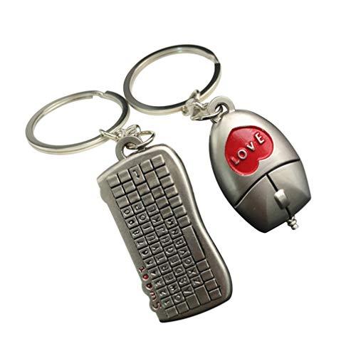 Valicclud Mini chaveiro para amantes de casais, teclado, mouse, casal, chaveiro, técnico, carro, bolsa, pingente, para homens e mulheres