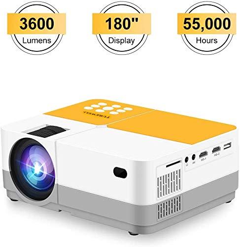 Projector, H3 videoprojector met 3600 Lumens, 180 Display en 55.000 uren levensduur van de lamp Mini draagbare projector, Compatibel met 1080p HDMI/VGA/AV/USB/Micro SD Card/Headphone dljyy