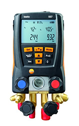 Testo 0563 1557 557 4 Way Valve Digital Manifold Meter Kit with Built in Bluetooth, 3' Height, 5' Width, 9' Length
