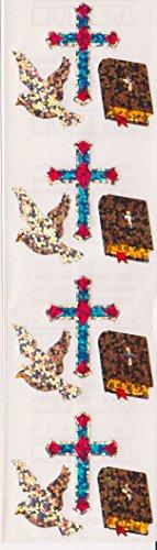 Religious Bible Cross Dove Glitter Stickers - 2 Sheets