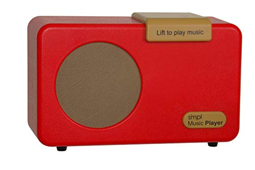 SMPL One-Touch Music Player, Audiobooks + MP3, Quality-Sound, Durable Wooden Encloser with Retro Look, 4GB USB with 40 Nostalgic Hits Included, Live Technical Support (Red, Music Player)