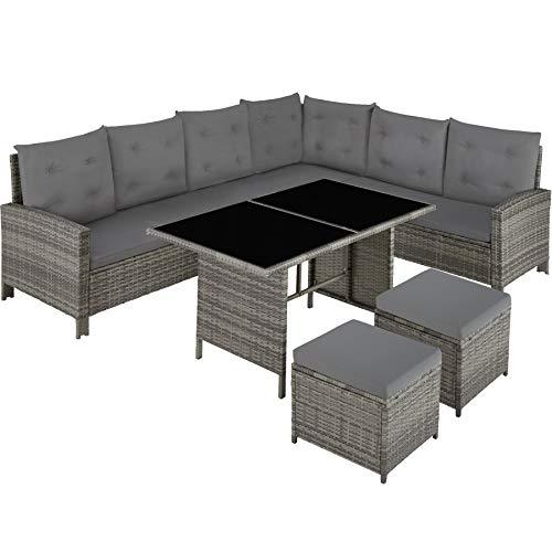 TecTake 800824 Conjunto de ratán, Sofá de Esquina para jardín, Mueble de Exterior para terraza con Mesa y Cojines (Gris - Beige)