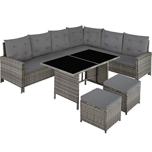 TecTake 800753 Rattan Garden Furniture Set with Corner Sofa, Table and Stool, Outdoor Patio Dining Set, 5 Piece Seating Set, Inc. Seat- and Back Cushions (Grey Beige | No. 403337)