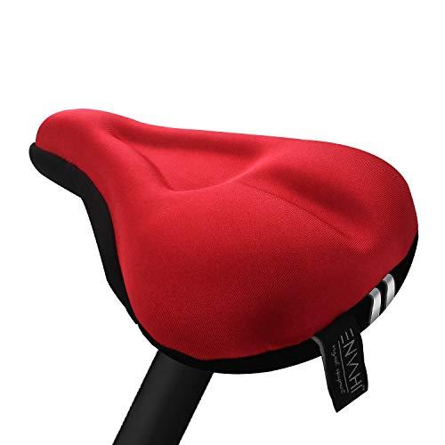 ENVAHI Coprisedile per Bicicletta   Confortevole coprisedile per Bicicletta in Gel, Imbottito con Nastro Riflettente e Impermeabile, Cuscino per Bicicletta per MTB, Exercise Bike, coprisella per Uomo